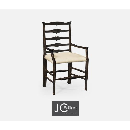 Dark Ale Ladder Back Dining Armchair, Upholstered in MAZO
