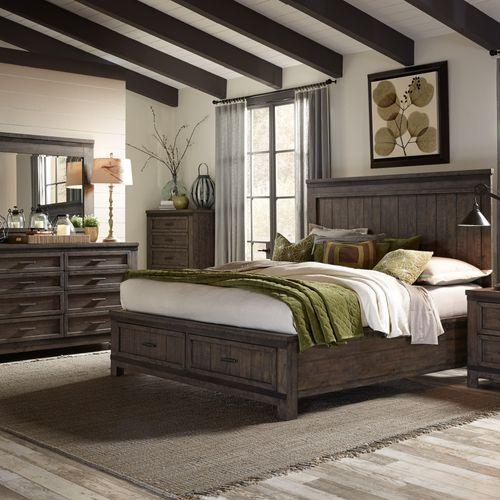 Liberty Furniture Industries - King Storage Bed, Dresser & Mirror, Chest