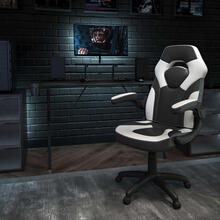 Black Gaming Desk and White\/Black Racing Chair Set with Cup Holder, Headphone Hook, and Monitor\/Smartphone Stand