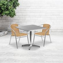 See Details - 31.5'' Square Aluminum Indoor-Outdoor Table Set with 2 Beige Rattan Chairs