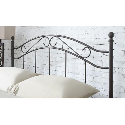 King Scrolled Metal Bed in Antiqued Brown
