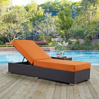Convene Outdoor Patio Chaise Lounge in Espresso Orange
