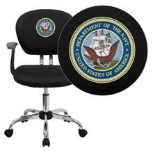 America's Navy Embroidered Black Mesh Task Chair with Arms and Chrome Base