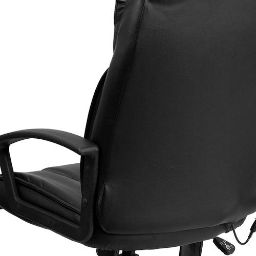 Gallery - High Back Ergonomic Massaging Black LeatherSoft Executive Swivel Office Chair with Side Remote Pocket and Arms
