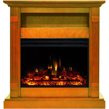 See Details - Cambridge Sienna 34-In. Electric Fireplace Heater with Teak Mantel, Enhanced Log Display, Multi-Color Flames, and Remote Control, CAM3437-1TEKLG3