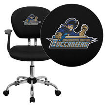 Massachusetts Maritime Academy Buccaneers Embroidered Black Mesh Task Chair with Arms and Chrome Base