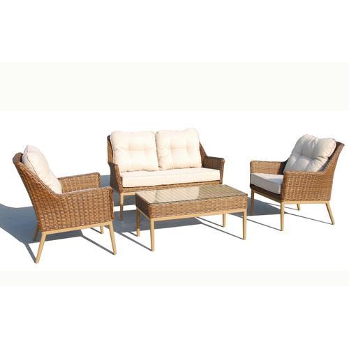 Eva 4pc Wicker Aluminum Love Seat SetSunbrella Cushion Inclusive