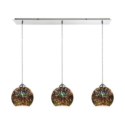 Illusions 3-Light Linear Mini Pendant Fixture in Polished Chrome with 3-D Starburst Glass
