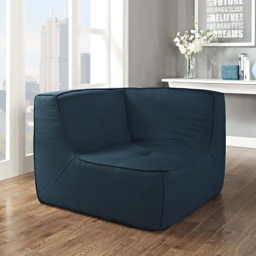 Align Upholstered Fabric Corner Sofa in Azure