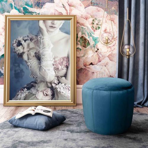 Tov Furniture - Ives Navy Velvet Ottoman