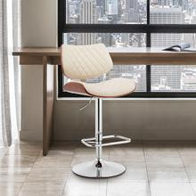View Product - Leland Adjustable Cream Faux Leather and Chrome Finish Bar Stool