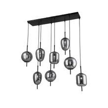 """Metal 47"""" Pendant Lamp With 8 Light, Smoke Glass"""