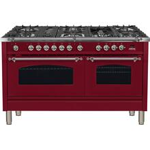Nostalgie 60 Inch Dual Fuel Natural Gas Freestanding Range in Burgundy with Chrome Trim