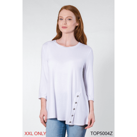 Crew Neck with Buttons Top - XXL (2 pc. ppk.)