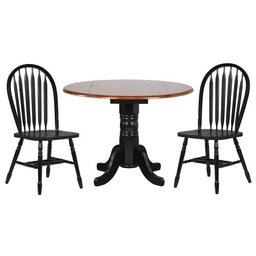 Product Image - Round Drop Leaf Dining Set w/ Arrowback Chairs (3 Piece)