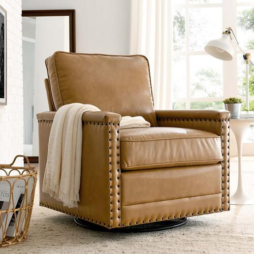 Modway - Ashton Vegan Leather Swivel Chair in Tan