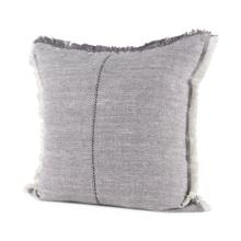 See Details - Thais 20L x 20W Blue and Cream Fringed Decorative Pillow Cover