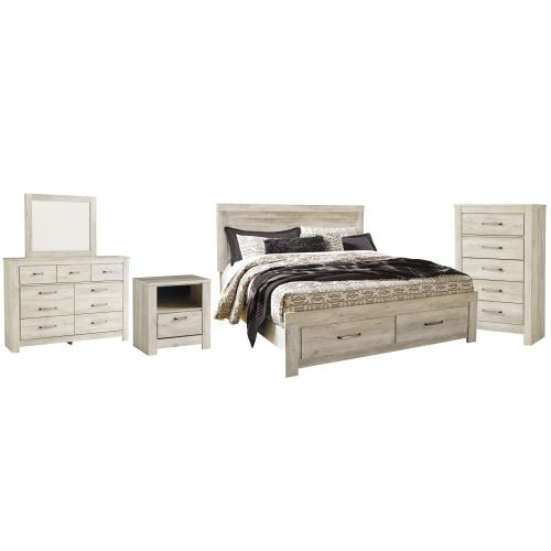 King Platform Bed With 2 Storage Drawers With Mirrored Dresser, Chest and Nightstand
