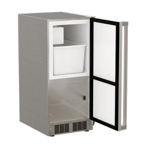 Marvel - 15-In Outdoor Built-In Crescent Ice Machine with Door Style - Stainless Steel
