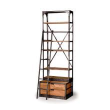 Brodie I 32L x 22W x 94H Medium Brown Wood Copper Accent Four Shelf Shelving Unit