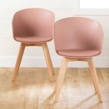 Dining Chair with Wooden Legs - Set of 2 - Pink