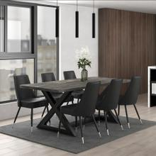Zax/Silvano 7pc Dining Set, Black/Grey