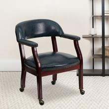 View Product - Navy Vinyl Luxurious Conference Chair with Accent Nail Trim and Casters