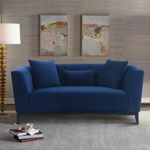 Melange Blue Velvet Upholstered Loveseat with Black Wood Base