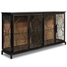 Product Image - READING SIDEBOARD  Black Finish on Metal Frame with Clear Glass  4 Door