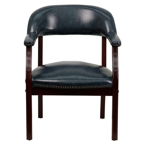 Gallery - Navy Vinyl Luxurious Conference Chair with Accent Nail Trim