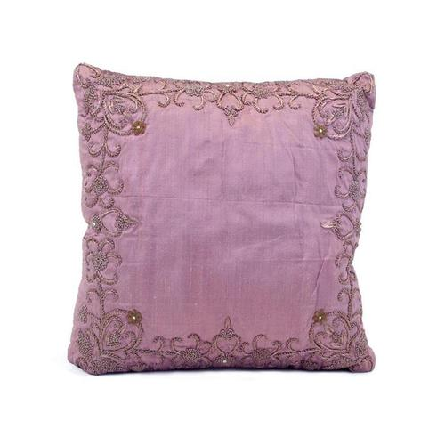 Lavender Silk Heavily Embroidered Pillow