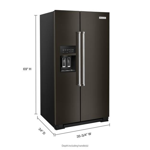Product Image - 24.8 cu ft. Side-by-Side Refrigerator with Exterior Ice and Water and PrintShield™ finish - Black Stainless Steel with PrintShield™ Finish