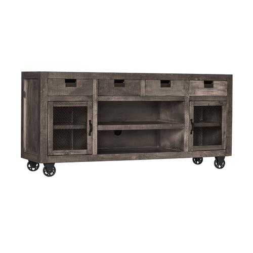 Industrial Rectangular Storage Media Console in Gray