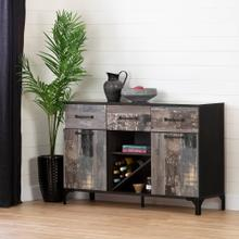Buffet with Wine Storage - Ebony and Factory Planks Effect