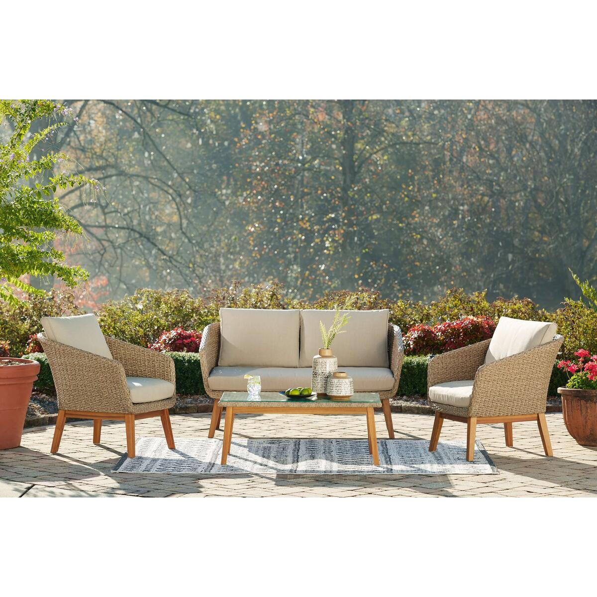 See Details - Outdoor Sofa and Loveseat With 2 Lounge Chairs