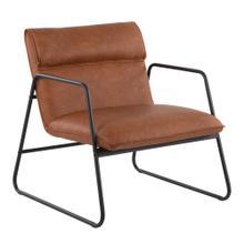 See Details - Casper Arm Chair - Black Steel, Camel Pu