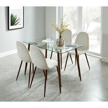 Abbot/Lyna 5pc Dining Set, Walnut/Beige