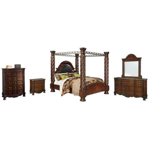 Product Image - California King Poster Bed With Canopy With Mirrored Dresser, Chest and Nightstand