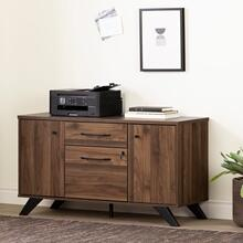Helsy - 2-Drawer Credenza with Doors, Natural Walnut