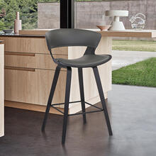 "Jagger 26"" Counter Height Stool with Black Brushed Finish and Gray Faux Leather"