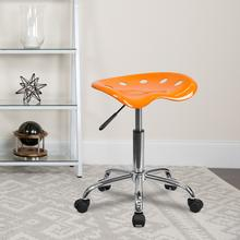View Product - Vibrant Orange Tractor Seat and Chrome Stool