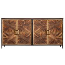 ATHENS SIDEBOARD  Reclaimed Walnut Finish on Mango Wood with Black and Gold Finish on Metal Frame
