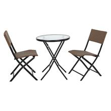 3 Piece Set- 1 Folding Round Metal Table W/ 2 Folding Chairs