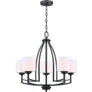 5-lite Chandelier Lamp, D/brz/fro Glass Shade, E27 A 60wx5