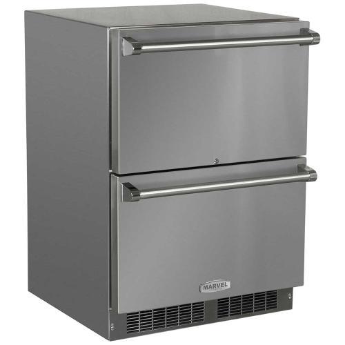 24-In Outdoor Built-In Refrigerated Drawers with Door Swing - Field Reversible