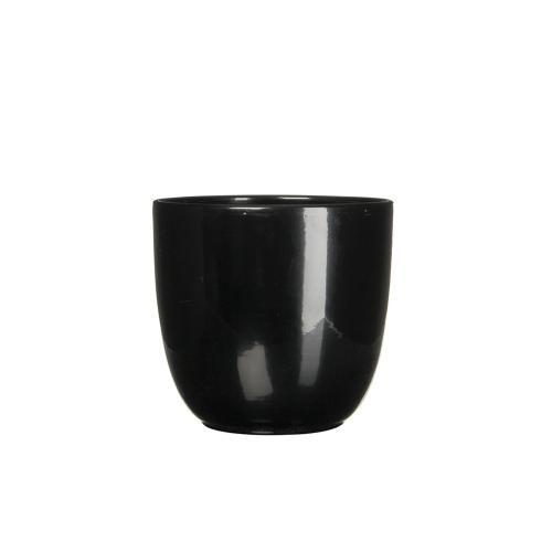 Tusca Round Planter Gloss Black (min.18pcs)