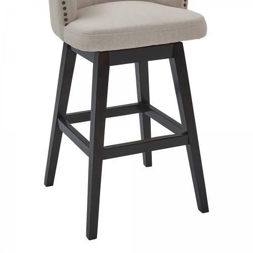 "Armen Living Celine 30"" Bar Height Barstool in Espresso Finish and Tan Fabric"