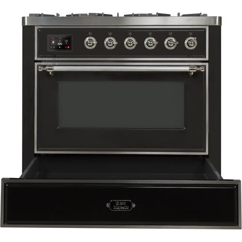 Majestic II 36 Inch Dual Fuel Natural Gas Freestanding Range in Matte Graphite with Chrome Trim