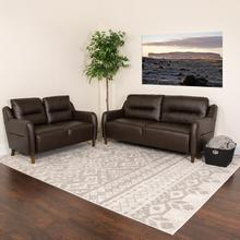 Newton Hill Upholstered Bustle Back Loveseat and Sofa Set in Brown LeatherSoft