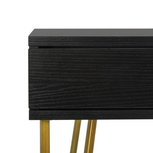 Product Image - Pine Two Drawer Desk - Black / Gold